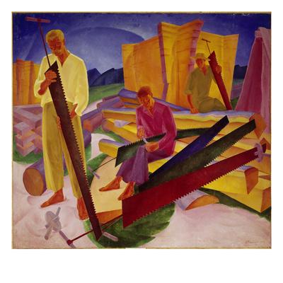 Two Carpenters, 1927 Giclee Print by Alexander Bogomasov