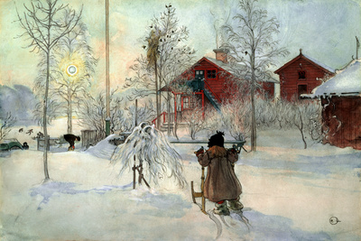 The Farmhouse and Washhouse Giclee Print by Carl Larsson
