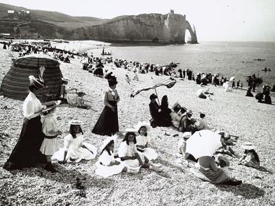 The Beach at Etretat, C.1900 Photographic Print
