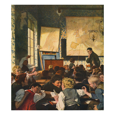 Classroom During Geography Lessons Giclee Print by Carl Hertel