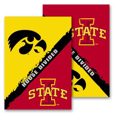 NCAA Iowa - Iowa State 2-Sided House Divided Rivalry Garden Flag Flag