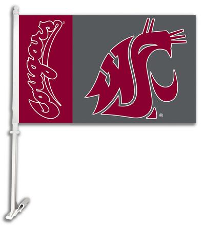 NCAA Washington State Cougars Car Flag with Wall Bracket Flag