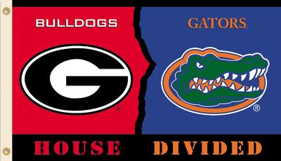 NCAA Georgia - Florida Rivarly House Divided Flag with Grommets Flag