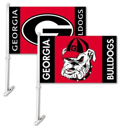 NCAA Georgia Bulldogs Car Flag with Wall Bracket Flag