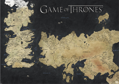 Game of Thrones map - Westeros and Essos poster print