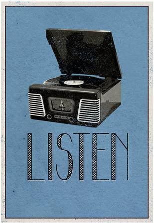 Listen Retro Record Player Art Poster Print Kunstdrucke
