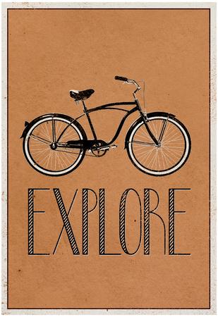 Explore Retro Bicycle Player Art Poster Print plakat