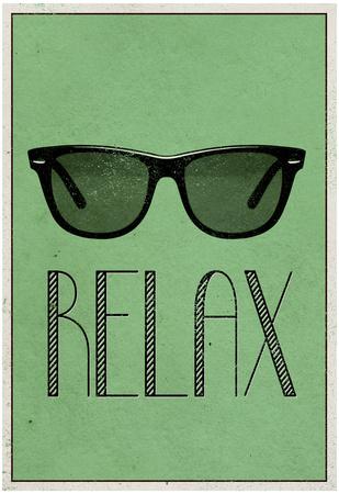 Relax Retro Sunglasses Art Poster Print plakat