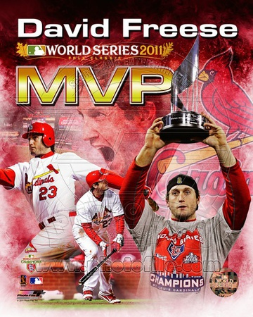 David Freese 2011 MLB World Series MVP Portrait Plus Photo