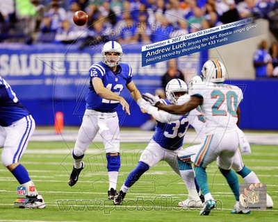 Andrew Luck breaks the NFL Rookie single game passing record by throwing for 433 Yards Lucas Oil St Photo