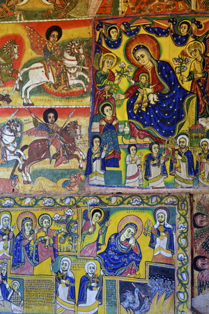 Murals in Christian Monastery and Church of Azuwa Maryam, Zege Peninsula, Lake Tana, Ethiopia Photographic Print by Simon Montgomery
