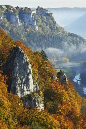 Eichfelsen Near Irndorf of Donautal, Schaufelsen and Werenwag Castle, Swabian Alb, Germany Photographic Print by Jochen Schlenker