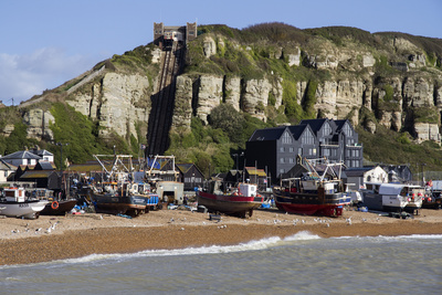 Fishing Fleet Drawn Up on Beach and East Hill Lift, Hastings, Sussex, England, United Kingdom Photographic Print by Rolf Richardson