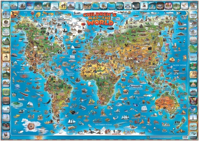 Children's Map of the World Educational Poster Photo
