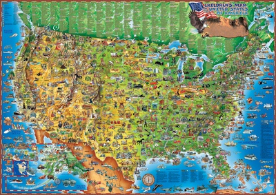 Children's Map of the USA, Laminated Educational Poster Prints
