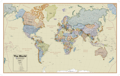 Hemispheres Boardroom Series World Wall Map, Educational Poster ポスター