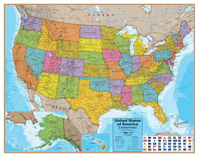 Hemispheres Blue Ocean USA Wall Map, Laminated Educational Poster Poster
