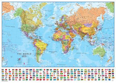 World 1:40 Wall Map, Laminated Educational Poster Photo
