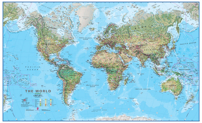 World Physical 1:30 Wall Map, Educational Poster ポスター