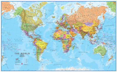 World MegaMap 1:20 Wall Map, Laminated Educational Poster Lamineret plakat