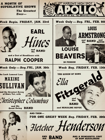 Apollo Theatre: Earl Hines, Louis Armstrong, Ella Fitzgerald, Fletcher Henderson and More 高画質プリント