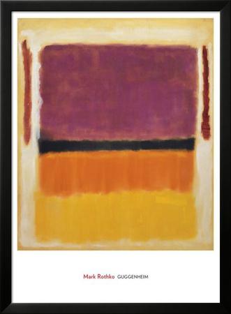 Ohne Titel (Violett, Schwarz, Orange, Gelb auf Weiß und Rot), ca. 1949 Poster von Mark Rothko