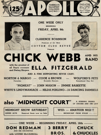 Apollo Theatre  Handbill: Chick Webb, Ella Fitzgerald, Cook and Brown, Wolford's Pets and More Posters