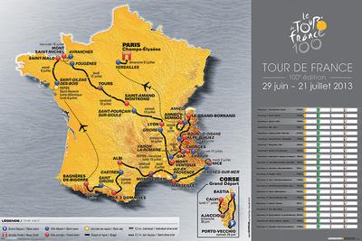 Mapa del Tour de Francia 2013 Póster