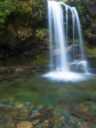 Smoky Mountain Natioanl Park: a Hiker Running Behind Grotto Falls Photographic Print by Brad Beck