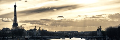 Sunset on the Alexander III Bridge - Eiffel Tower - Paris Photographic Print by Philippe Hugonnard