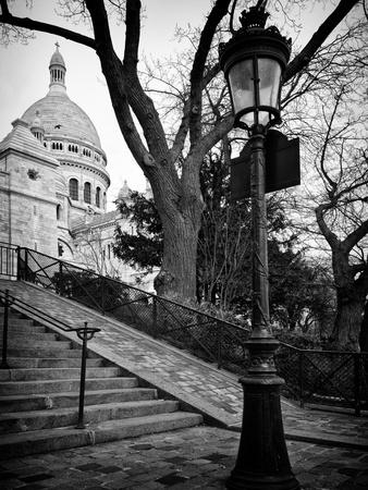 Steps to the Place du Sacré Cœur - Montmartre - Paris - France Photographic Print by Philippe Hugonnard