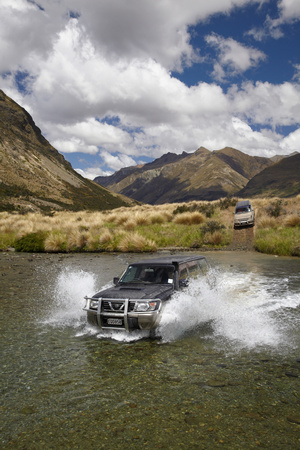 4Wd Crossing Mararoa River, Mavora Lakes, Southland, South Island, New Zealand Photographic Print by David Wall