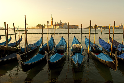 View of Canale di San Marco and with Gondolas, Venice, Italy Photographic Print by David Noyes