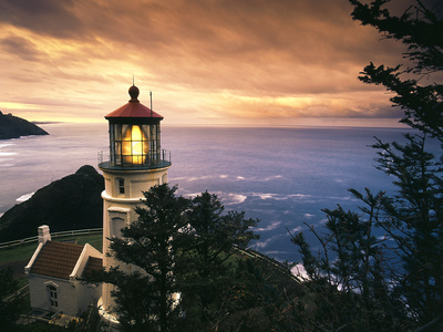 View of Heceta Head Lighthouse at Sunset, Oregon, USA Photographic Print by Stuart Westmorland