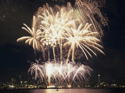 Fireworks on July 4th, at Gasworks Park; Space Needle in Background, Seattle, Washington, USA Photographic Print by Jamie & Judy Wild
