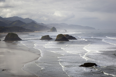 Cannon Beach and Haystack Rock, Crescent Beach, Ecola State Park, Oregon, USA Photographic Print by Jamie & Judy Wild