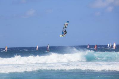 Windsurfing, Hookipa Beach Park, Maui, Hawaii, USA Photographic Print by Douglas Peebles