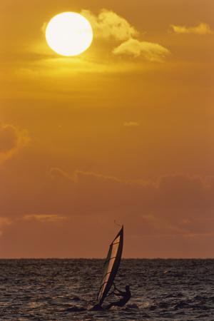 Sunset, Windsurfing, Ocean, Maui, Hawaii, USA Photographic Print by Gerry Reynolds
