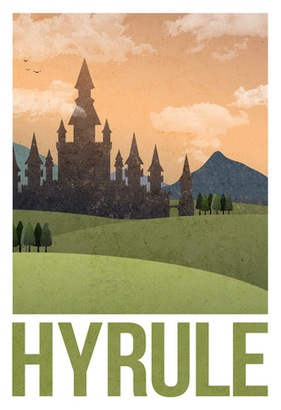 Hyrule hills and castle retro travel poster art