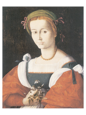 A Lady With A Nosegay Premium Giclee Print by Francesco Ubertini Bacchiacca