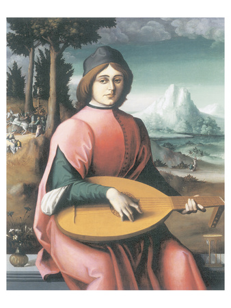 Portrait Of A Young Man With A Lute (Allegory Of Youth And Love) Premium Giclee Print by Francesco Ubertini Bacchiacca