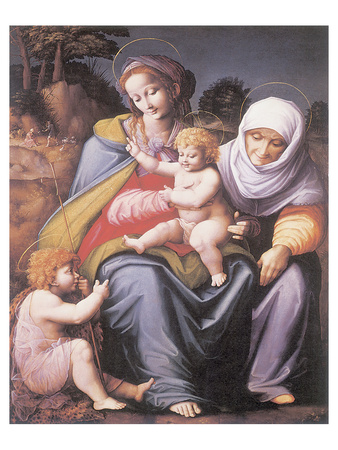 The Virgin And Child With Saint Elizabeth And John The Baptist Premium Giclee Print by Francesco Ubertini Bacchiacca