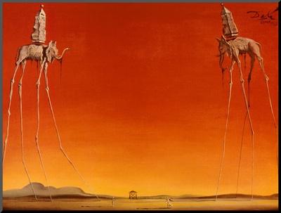De olifanten, ca.1948 Kunst op hout van Salvador Dalí