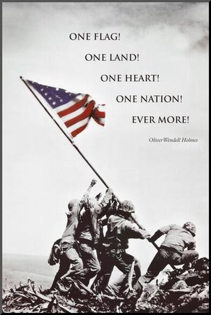 American Flag at Iwo Jima Mounted Print
