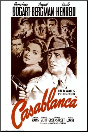 Casablanca, collage van zestal filmbeelden, 1942 Kunst op hout