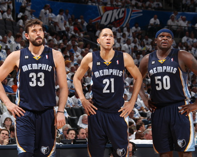 Oklahoma City, OK - May 15: Marc Gasol, Tayshaun Prince and Zach Randolph Photo by Joe Murphy