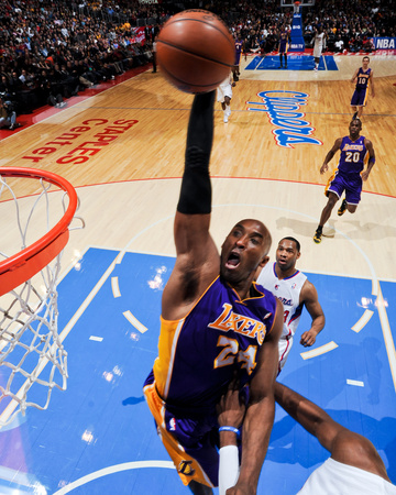LA Lakers vs LA Clippers - Kobe Bryant dunking against Chris Paul 2013 NBA Playoffs - sports basketball photo poster by Andrew Bernstein
