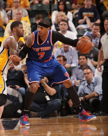 Indianapolis, IN - May 14: Carmelo Anthony and Paul George Photo by Ron Hoskins