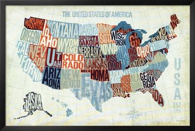 EE UU azul moderno Lámina enmarcada con Lamina