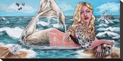 Mermaid Stretched Canvas Print by Kris Chisholm